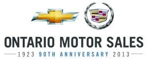 Ontario Motor Sales Chevrolet Cadillac 90th Anniversary logo