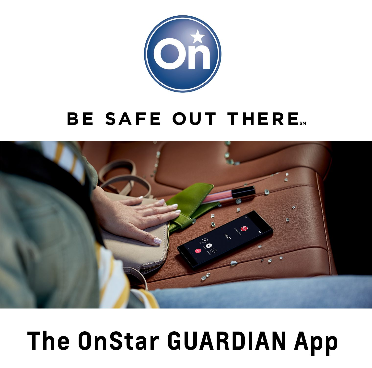 Female hand touching the backseat of a car covered in shards of glass and an iPhone displaying the OnStar app